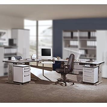 Büromöbel Schreibtisch Set in lichtgrau, höhenverstellbare ...