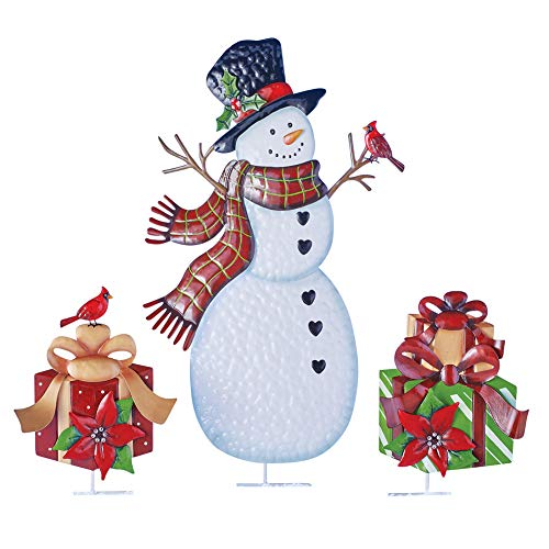 Collections Etc Country Snowman and Gifts Outdoor Christmas Stake Set of 3