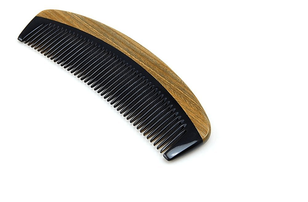 Sandalwood comb - no static comb comb through natural Sandalwood Hand horn comb wide tooth comb (Olive)