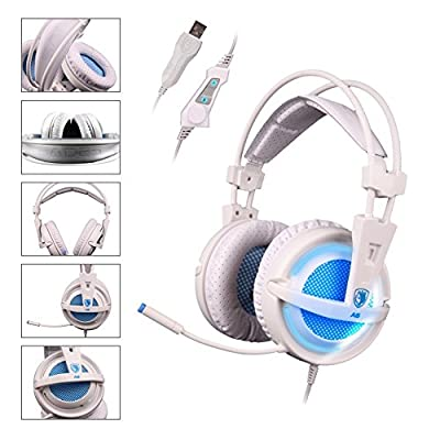 SADES A6 Surround Sound 7.1 USB Over Ear Stereo Gaming Headphones with Microphone Volume Control LED Lights for PC Gamers(White)