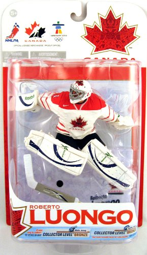 McFarlane Toys NHL Sports Picks Series 2010 Olympic (Vancouver) Series 1 Action Figure: Roberto Luongo (Team Canada) White Jersey Variant Bronze Level (Team Canada Jersey)