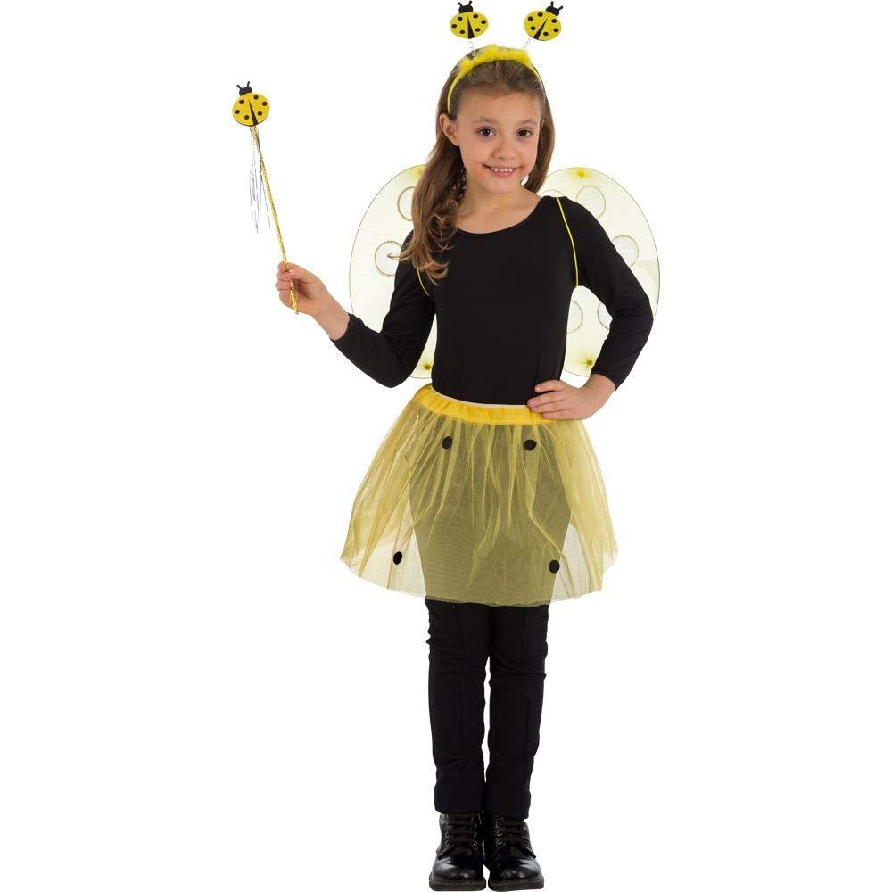 Set mariquita amarilla (alas: 34 x 52 cm, falda, diadema y baqueta ...