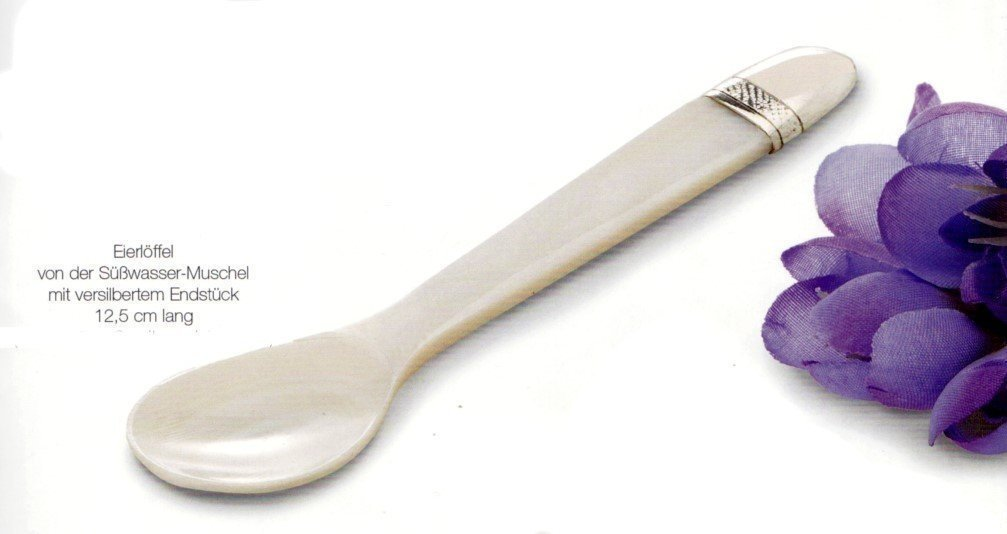 Elegant Mother-Of-Pearl Spoon from the end SüßWASSERMUSCHEL- Silver Plated