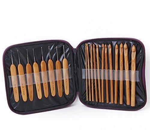 20 Piece Bamboo Crochet Hooks Knitting Needles Set. Wood Wooden Kit Sizes Case by Crochet Hooks by Crochet Hooks