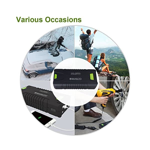 1000A Peak Current 20000mAh 12 Volt Portable Car Jump Starter Fully Support Gasoline Vehicle Up To 80L Diesel Engine Battery Booster Power Bank With LED Emergency Flashlight By DrAuto