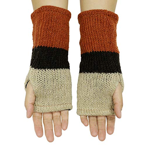 CFrost Women's Hand Knit Winter Flower Fingerless Arm Warmer Gloves by C Frost (Image #1)
