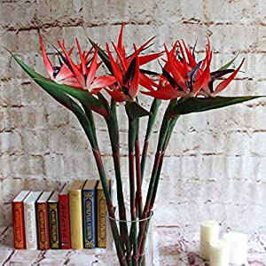 Potelin Premium Quality Artificial Flower Bird Of Paradise Fake Plant Silk Strelitzia Reginae Home Decor - Orange 4