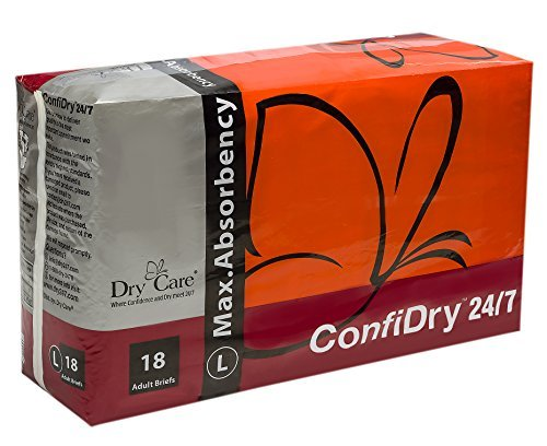 ConfiDry 24/7 Dry Care Max Absorbency Adult Brief Diapers, Large, 18 Count