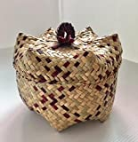 Handmade Reed Woven Small Basket for Accessories Home Storage Basket,Decorative Box with Lid, Dia 6