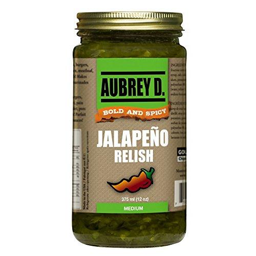 Aubrey D. Jalapeno Relish, Gluten Free, Spicy for BBQ, Tartar Sauce, Hot Dogs, Hamburgers, Beef, Chicken, Dressing, 12 Ozs