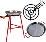 Paella Pan + Paella Burner and Stand Set - Complete Paella Kit for up to 40 Servings
