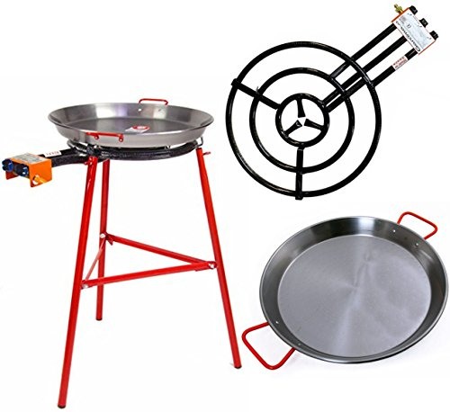 Paella Pan + Paella Burner and Stand Set - Complete Paella Kit for up to 25 Servings by Garcima