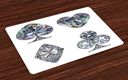 Ambesonne Diamond Place Mats Set of 4, Playing Cards Diamonds Hearts Clubs Spades Casino Theme Charm Art Graphic Design, Washable Fabric Placemats for Dining Table, Standard Size, White Silver