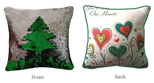 Sequins Throw Pillow Case Cushion Cover Heart Love Kids Birthday Valentine's Day Gift Diy Reversible Double Color Green and Silver 16x16inches 40x40CM Meaning4