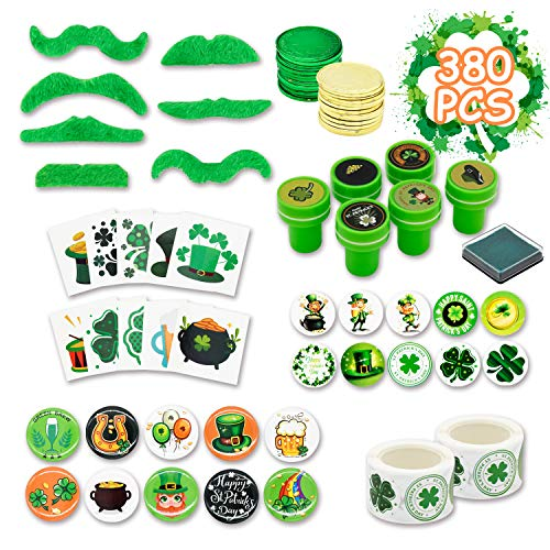 Kissdram 380Pcs St. Patrick's Day Party Favor Saint Patricks Day Irish Shamrock Toy seal,Holiday stickers,Irish gold…
