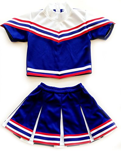 Girls' Cheerleader Cheerleading Outfit Uniform Costume Cosplay sleeves Blue/White/Red (XL / 10-12)]()