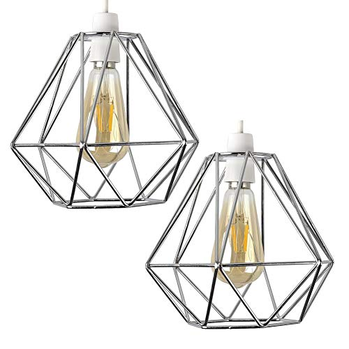 Lamps Modern Suspension (2pcs Vintage Pendant Light, Motent Industrial Modern Minimalist Diamond Cage Hanging Lamp. Creative Iron Wrought 1-Light DIY Lighting Fixture with No Bulb, 7.8