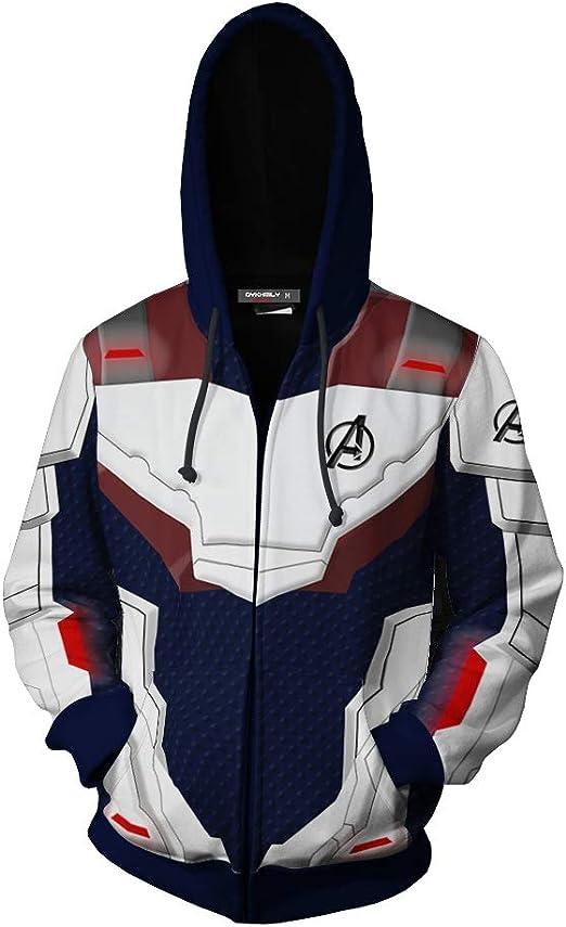 Endgame Quantum Battle Suit Printed Zipper Hoodie Hooded Unisex Coat Avengers 4