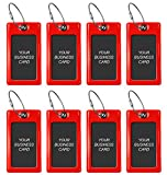 Luggage Tags TUFFTAAG for Business Cards, Flexible Travel Labels, 8 Pack Bundle (8 Red)