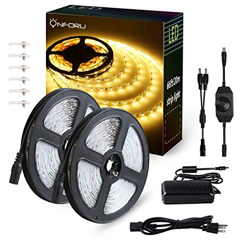 Onforu 66ft Dimmable LED Strip Lights Kit, UL Listed Power Supply, 3000K Warm White, 20m 1200 Units SMD 2835 LEDs, 12V LED Rope, Under Cabinet Lighting Strips with Dimmer, Non-Waterproof LED Tape by Onforu