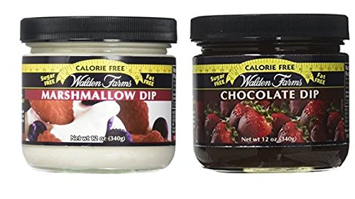 Walden Farms Calorie Free Dip Marshmallow 12 oz & Calorie Free Chocolate Dip 12 oz (Pack of 2)