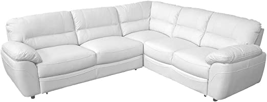 Amazon Com Baltimor 2 Full Grain Leather Sectional Sleeper Sofa Right Corner Kitchen Dining