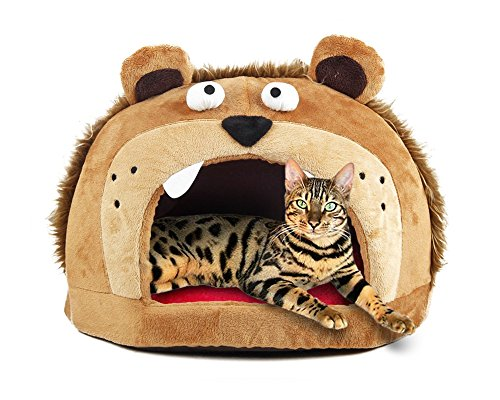 Orthopedic Cat Beds (Petories Lion Head Design Self Warming Pet House and Bed with Removable Cushion for Small Cats and)