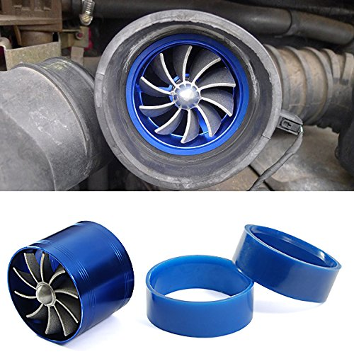 Universal Fit Brand New Blue Single Turbo Turbine Charger Cool Air Intake Fuel Gas Saver Fan Aluminum (Dual Cool Air Intake compare prices)