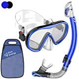 Diveenergy Adult Dry Snorkel Set - Anti-Fogging protection & Tempered Glass - Clear View Scuba Diving Mask & Easy Breathing No Leaks Snorkel + Carry Bag