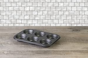 Deluxe Nonstick Bakeware, Professional 6 Cup Muffin Pan, Charcoal colored.