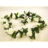Artificial Flowers Garland with Satin Rose and Hydrangea for Wedding, Trellis, Gazebo (Cream) from GT Decorations