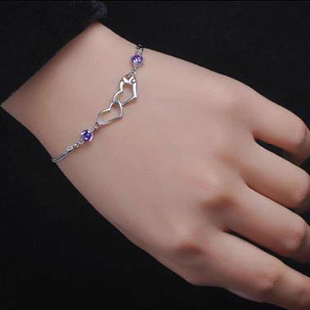 wicemoon se/ñal de sencillo y Happy coraz/ón plateado pulsera cadena de joyer/ía cadena de mano colgantes decoraci/ón para las mujeres
