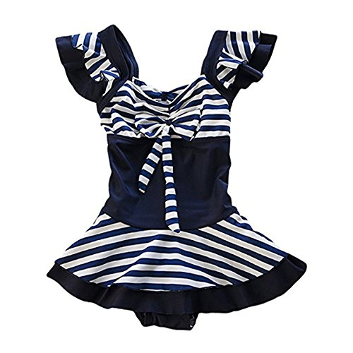 Baby Girls Kids One Pieces Sailor Stripe Bowknot Ruffle Swimsuits