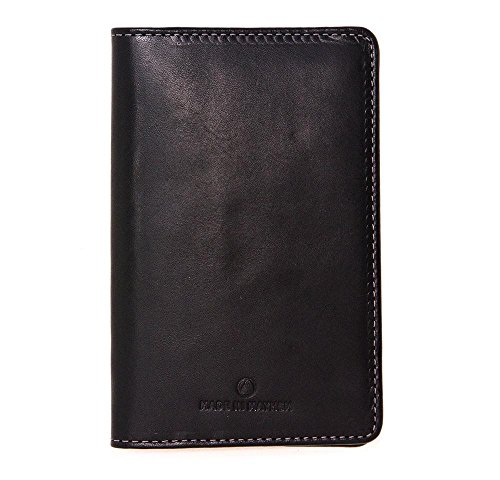 Black leather passport wallet with pockets for cards. Leather travel wallet. Made in USA by Made in Mayhem by Made In Mayhem
