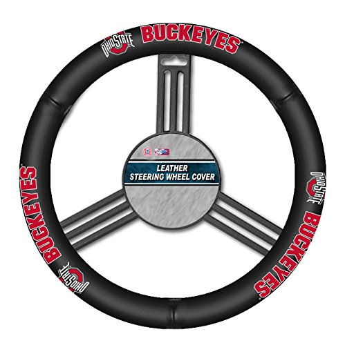 (Fremont Die NCAA Ohio State Buckeyes Leather Steering Wheel Cover, One Size, Black)