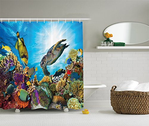 Ambesonne Ocean Decor Collection Fishes and Old Turtle Hawksbill Floats under Water between Coral Reefs Aquatic Environment Picture Polyester Fabric Bathroom Shower Curtain 75 Inches Long