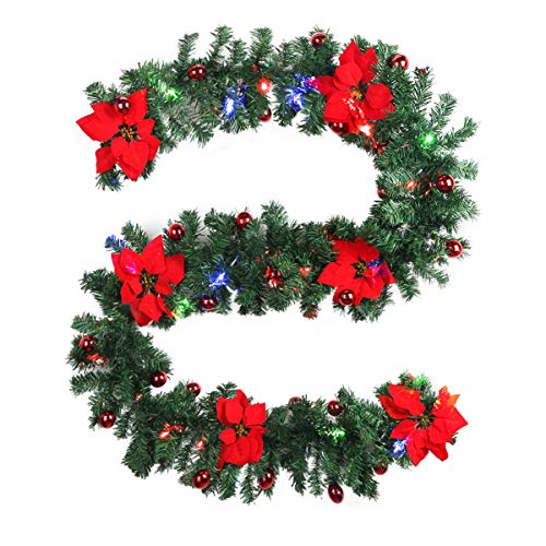Owlike 9ft Christmas Garland Indoors Outdoor Xmas Party Wall Stair Decoration with LED Lights & Berries