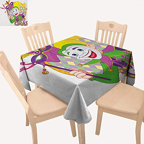 longbuyer Mardi Gras Tassel Tablecloth Cartoon Design of Mardi Gras Jester Smiling and Holding a Mask Harlequin Figure Square Tablecloth Multicolor W 36