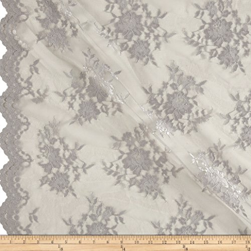 Chantilly Lace Double Border Silver Fabric By The (Chantilly Lace Fabric)