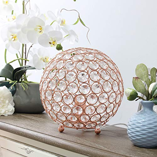 Elegant Designs LT1026-RGD Elipse 8 Inch Crystal Ball Sequin Table Lamp, Rose Gold