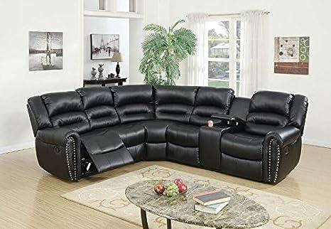 Poundex Tamanna Black Bonded Leather Reclining Sectional Sofa