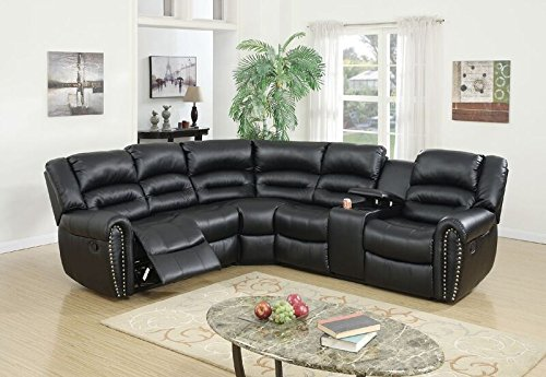 Poundex Tamanna Black Bonded Leather Reclining Sectional Sofa