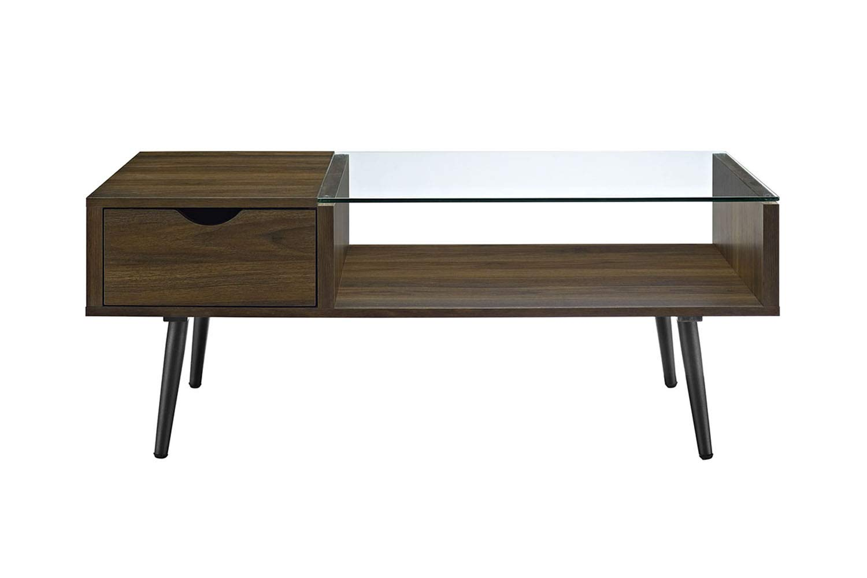 Walker Edison Furniture Company Wood and Glass Coffee Table in Dark Walnut