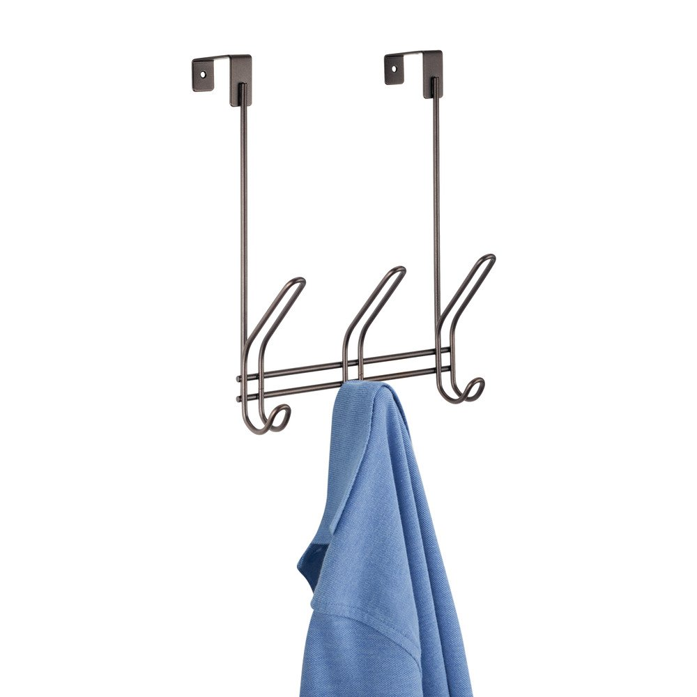 InterDesign Classico Over The Door Organizer Hooks for Coats Towels 4 Hooks Chrome Hats Robes