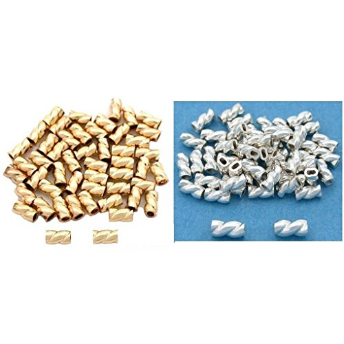 Gold Filled & Sterling Silver Twisted Crimp Jewelry Tube Beads Kit 100 Pcs ()
