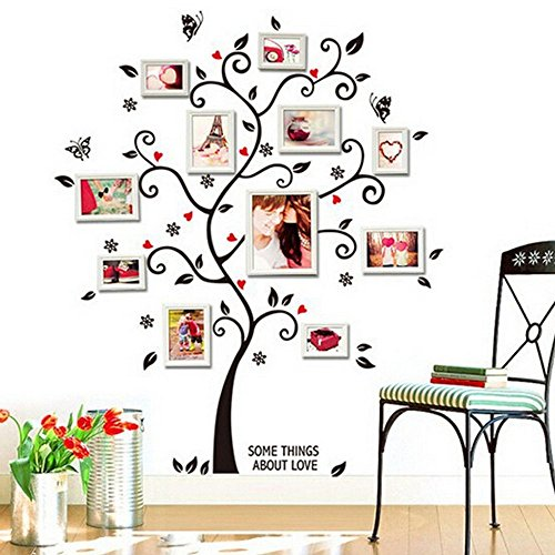 Photo Frame Tree Wall Stickers, E-Scenery Peel and Stick DIY 3D Wall Decals Mural Art Wallpaper for Kids Room Home Nursery Party Window Decor -