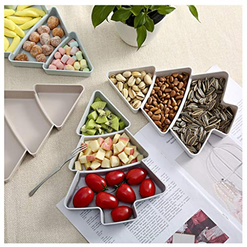 Fine Creative Christmas Tree Shape Fruit Plate, Household Plastic Nuts Snacks Plates Portable Plastic Candy Dish Dishes Serving Tray (Gray)