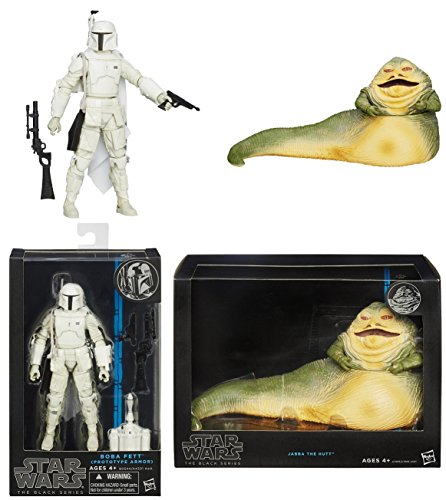Star Wars Black Series Boba Fett Figure and Jabba the Hutt Figure Bundle