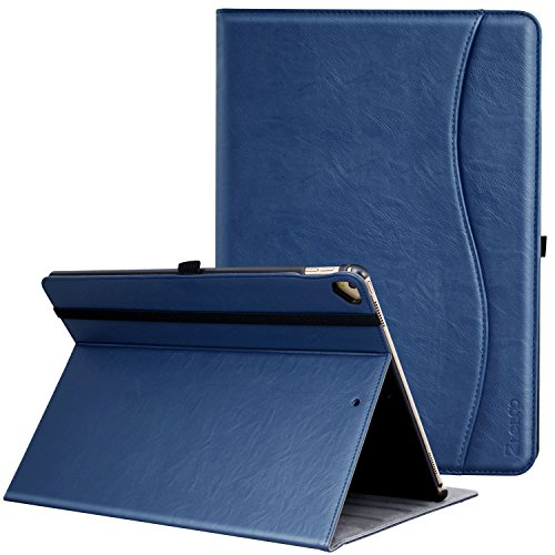 Ztotop Case for iPad Pro 12.9 Inch 2017/2015 (Old Model,1st & 2nd Gen), Premium Leather Folding Stand Folio Cover with Auto Wake/Sleep, Document Card Slots and Multiple Viewing Angles, Navy Blue