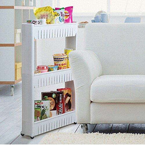 taohaohuo 3 ablagen nischenregal k chenregal badregal standregal allzweckwagen mit rollen wei. Black Bedroom Furniture Sets. Home Design Ideas